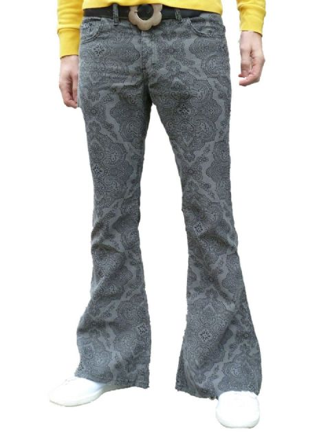 Paisley Cords Flares - Bell Bottoms Trousers Pants Corduroy - Grey Paisley